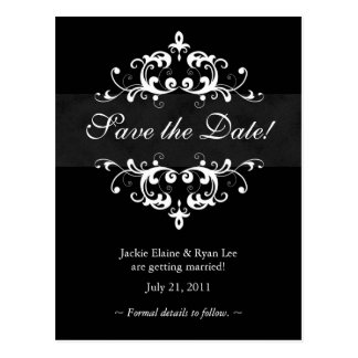 Save the Date Postcard Black White Embellishment