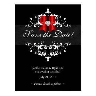 Save the Date Postcard Black White Xmas Bow