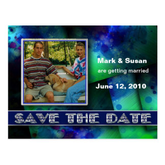 SAVE THE DATE - Postcard- Blue Abstract - Photo Postcards