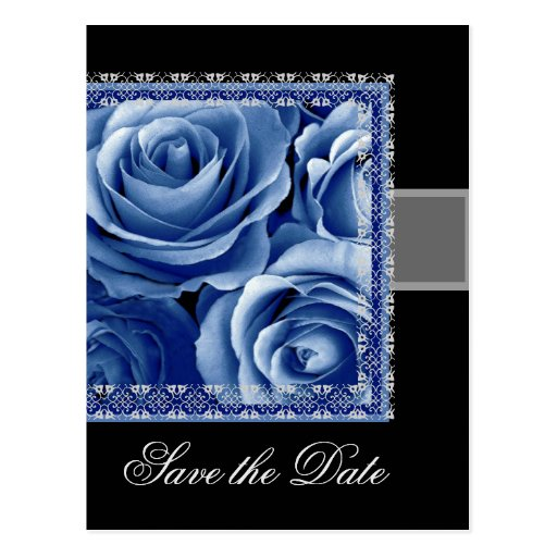 Save the Date Postcard BLUE Roses