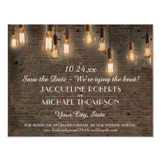 Save the Date Postcard Edison Lights Brick