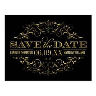 Save the Date Postcard   Gold Flourish