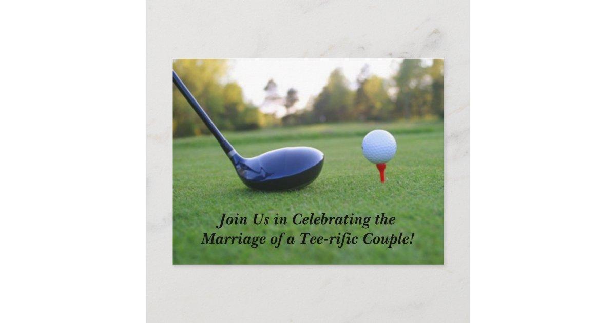 save the date postcard golf theme announcement postcard. Black Bedroom Furniture Sets. Home Design Ideas