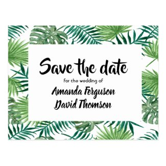Save the date postcard green palm tree leaves
