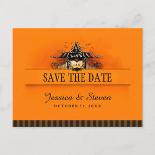 save the date postcard halloween love