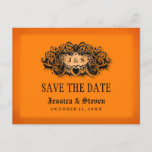 🎃  Save the Date Postcard - Halloween Orange & Black