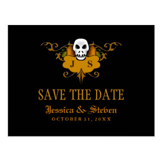 Save the Date Postcard - Halloween Skull