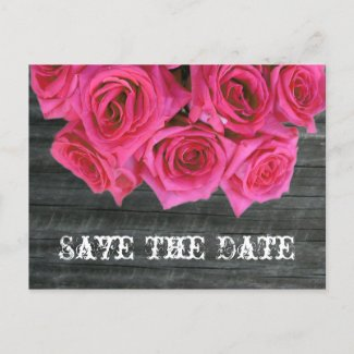 Save The Date Postcard - Hot Pink Roses & Barnwood postcard