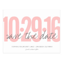 Save The Date Postcard, Large Date, blush pink Postcard