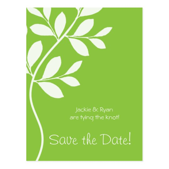 Save the Date Postcard Lime Green Leaf Branch