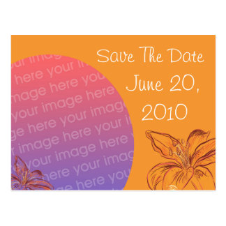 SAVE THE DATE POSTCARD - Orange Flowers