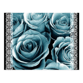 Save the Date Postcard PASTEL BLUE Roses