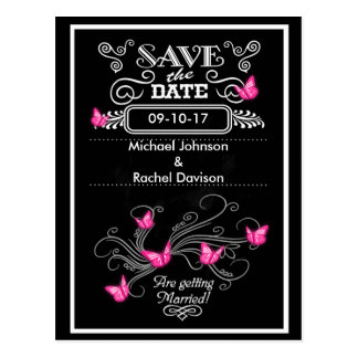 Save the Date Postcard Pink Butterflies Vintage