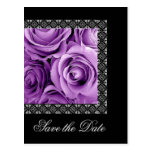 Save the Date Postcard PURPLE Roses SILVER Lace