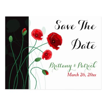Save The Date Postcard | Red Poppies | Green Black