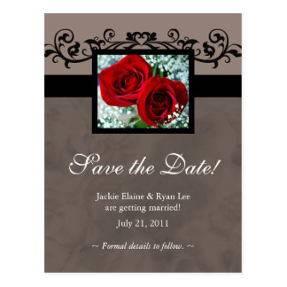 Save the Date Postcard Red Roses Heart Love