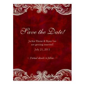 Save the Date Postcard Roses Antique Brown Red