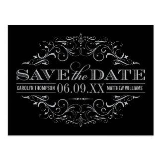 Save the Date Postcard | Silver Flourish