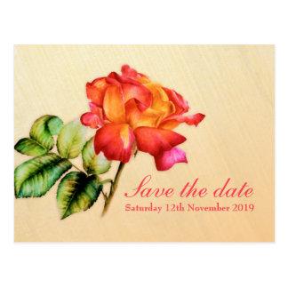 Save the Date Postcard tea rose art