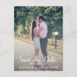 """Save The Date Postcard Template<br><div class=""""desc"""">This template can be customized on your own.  It&#39;s so easy!  This save the date postcard template features a fun,  whimsical,  elegant cursive script.</div>"""