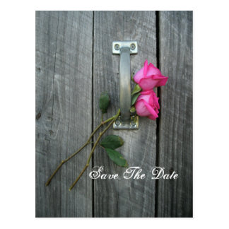 Save the Date Postcard - Two Roses and Barn Door