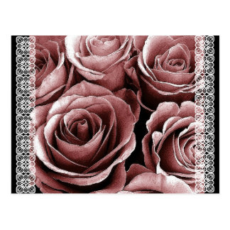Save the Date Postcard VINTAGE PINK Roses