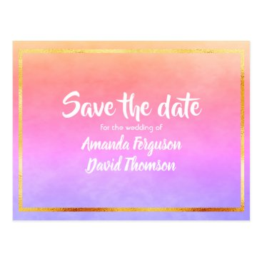 Wedding Themed Save the date postcard violet and golden peach