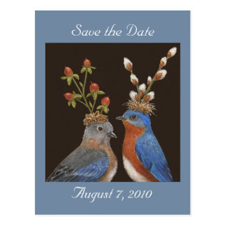 Save the date postcard with bluebird couple