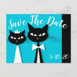 Cute Black Cats In Love Wedding Save The Date Postcard