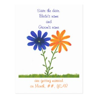 Save the date postcards, blue orange flowers postcard