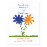 Save the date postcards, blue orange flowers postcard