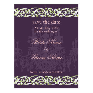 Save the Date postcards, chandelier swirls accent Postcard