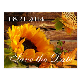 Save the Date Postcards, Country Fall Sunflower Postcard