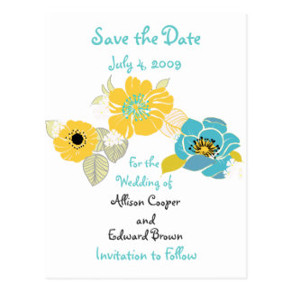 Save the Date postcards florals cool colors combo