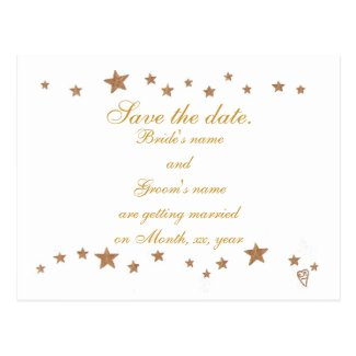 Save the date postcards, gold stars border