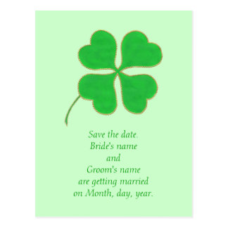 Save the date Postcards, Green Shamrock Gold Dots Postcard