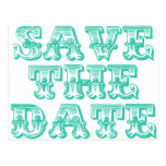 Save the Date Postcards in Teal Blue-Green