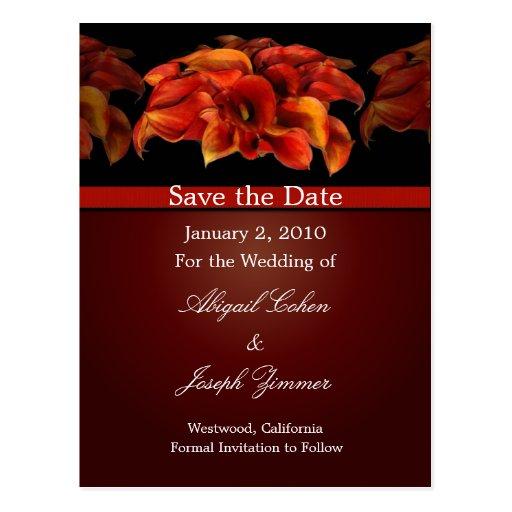 Save the date postcards, orange calla lillies
