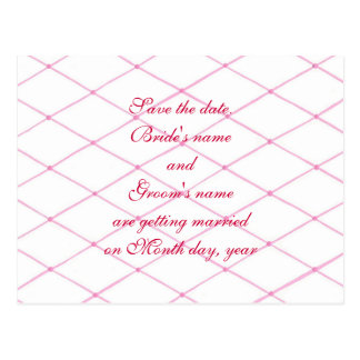 Save the date postcards, Pink quilted crisscross Postcard