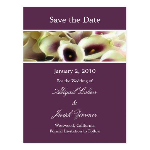 Save the date postcards, purple calla lillies