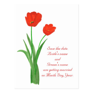 Save the date postcards, Red Tulips