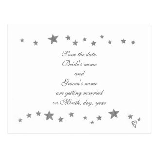 Save the date postcards, silver stars border postcard