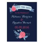 Save The Date postcards wedding set Navy floral