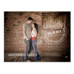 Save the Date Postmark Circle Photo Postcard