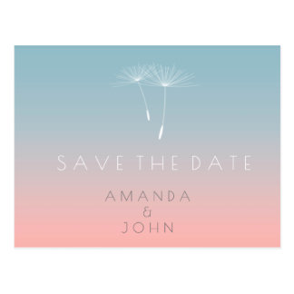 Save The Date Powder Blue Slate Pink Ombre Postcard