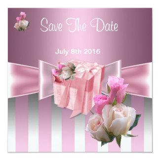 Save The Date Pretty Satin Pink Silver Stripe Bow 5.25x5.25 Square Paper Invitation Card