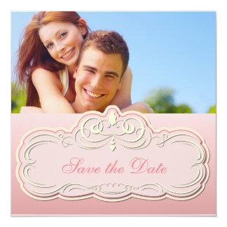 "Save the Date Princess Pink 5.25"" Square Invitation Card"