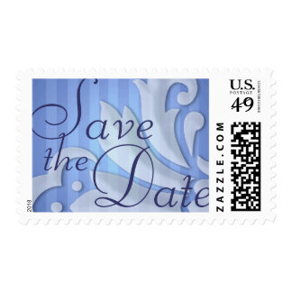 Save the Date Puffy Damask Blue Stripe Postage