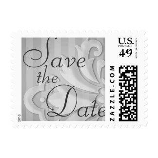 Save the Date Puffy Damask Gray Stripe Postage