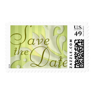 Save the Date Puffy Damask Green Stripe Postage